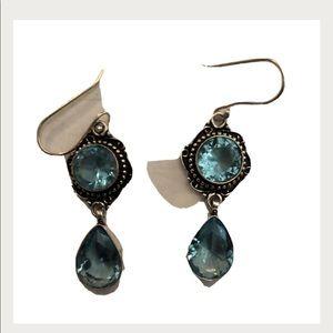 Aquamarine faux lab stone drop earrings